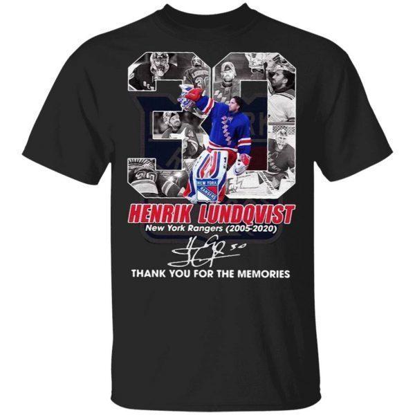 30 Henrik Lundqvist New York Rangers 2005 2020 thank signature T-Shirt