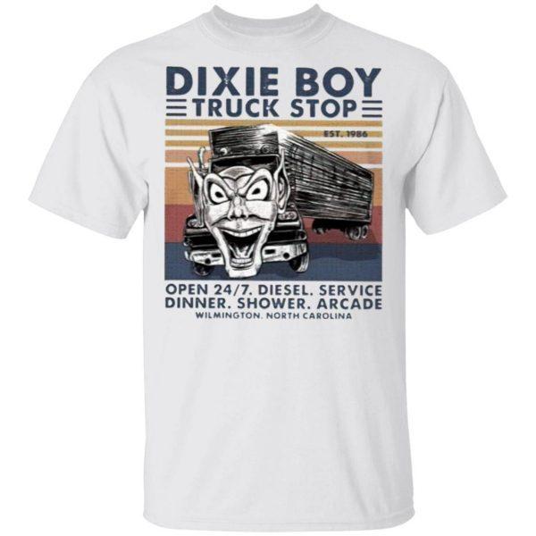 Dixie Boy Truck Stop Open 24.7 Diesel Service Dinner Shower Arcade T-Shirt