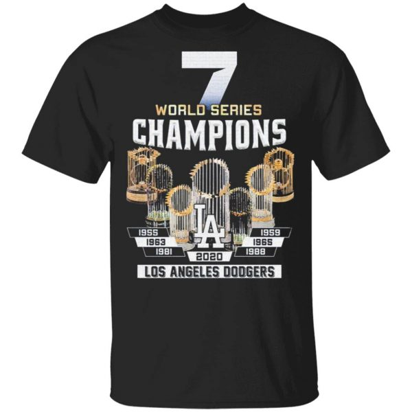 7 world series Champions Los Angeles Dodgers 1955 2020 T-Shirt