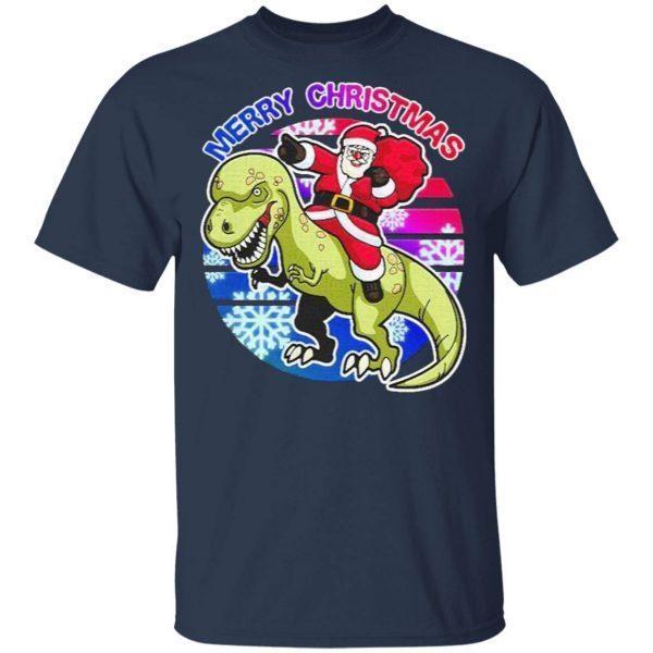 Merry Christmas Santa Riding T-Rex Christmas Dinosaur Xmas T-Shirt