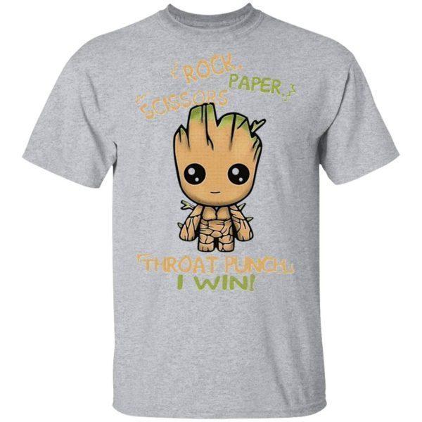 Baby Groot Rock paper scissors throat punch I win T-Shirt