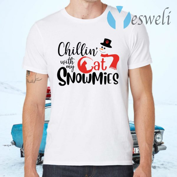 Chillin' With My Cat Snowmies Christmas T-Shirts