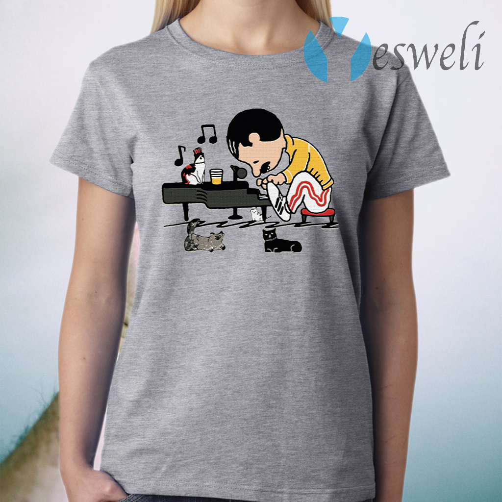Freddie Peanuts Playing Piano And Cat Youth Kids T-Shirt