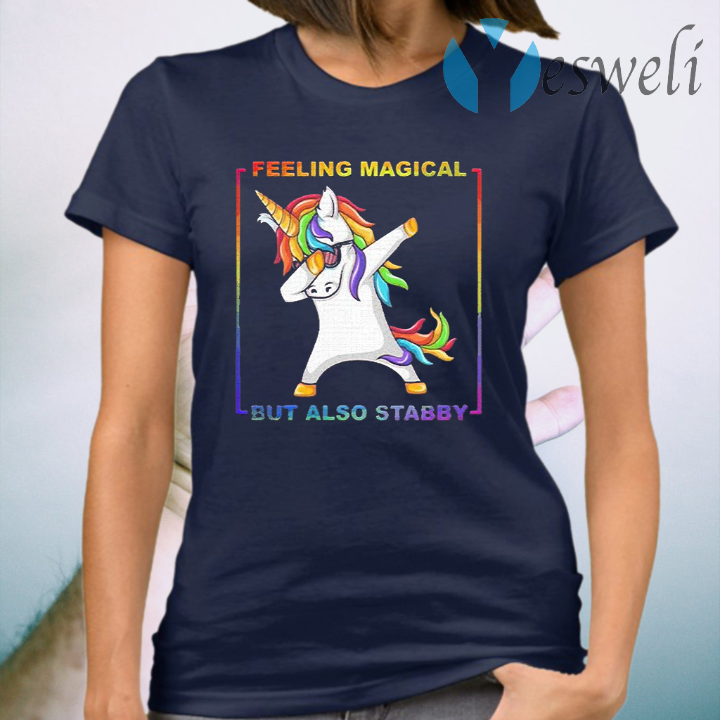 Lgbt unicorn dabbing feeling magical but also stabby T-Shirt