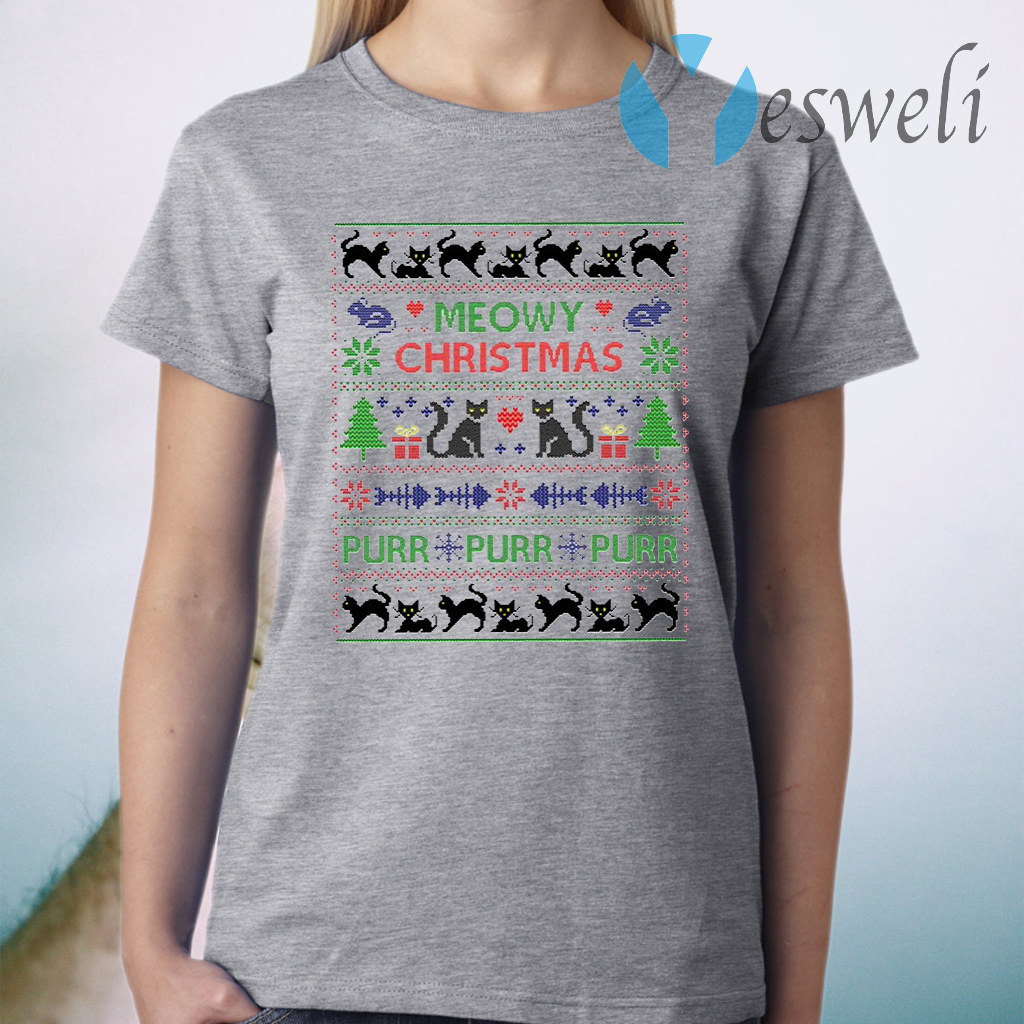 Meowy Christmas Funny Purr Cats T-Shirt