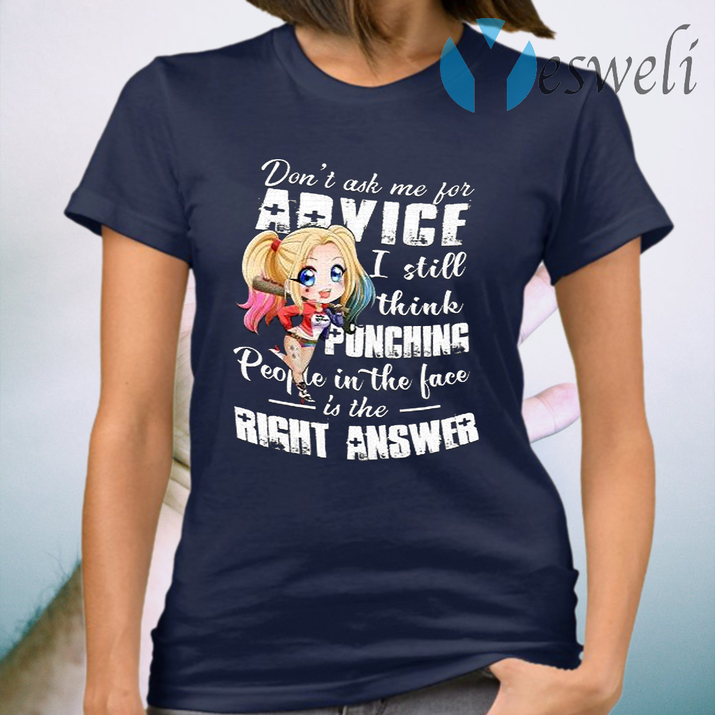 Premium Harley Quinn Chibi Don't Ask Me For Advice I Still Think Punching T-Shirt