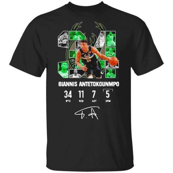 Milwaukee Bucks Giannis Antetokounmpo 34 Signature T-Shirt