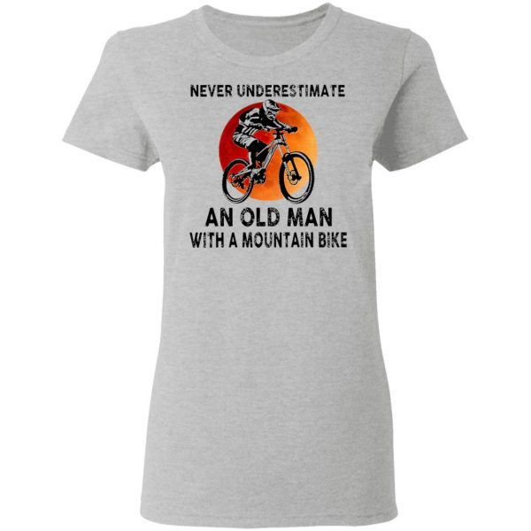 Never Underestimate An Old Man With A Moutain Bike Blood Moon T-Shirt