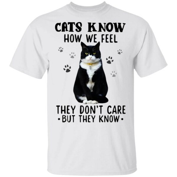 Cats Know How We Feel They Don't Care But They Know T-Shirt