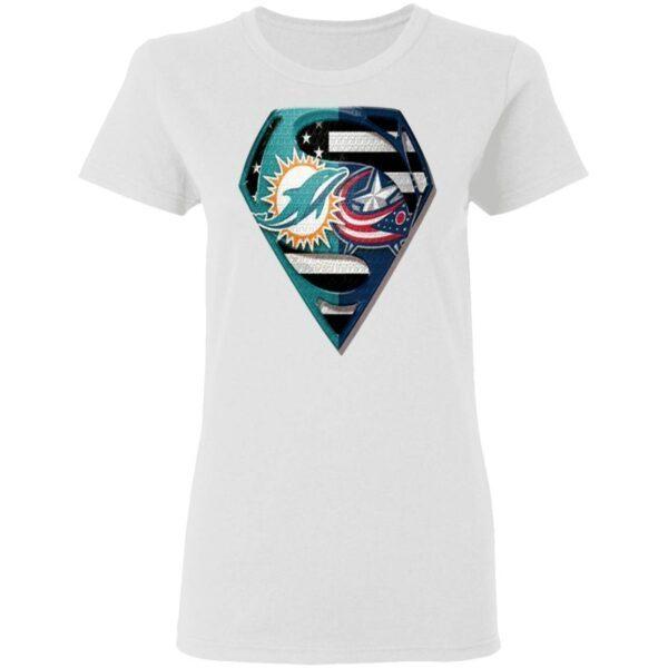 Superman Miami Dolphins vs Columbus Blue Jackets 2020 T-Shirt