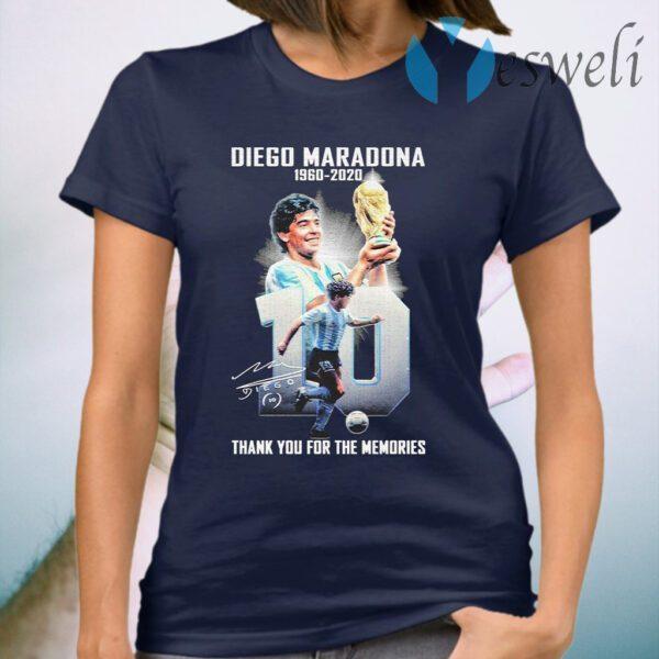 Diego Maradona 1960 2020 thank you for the memories signature T-Shirt