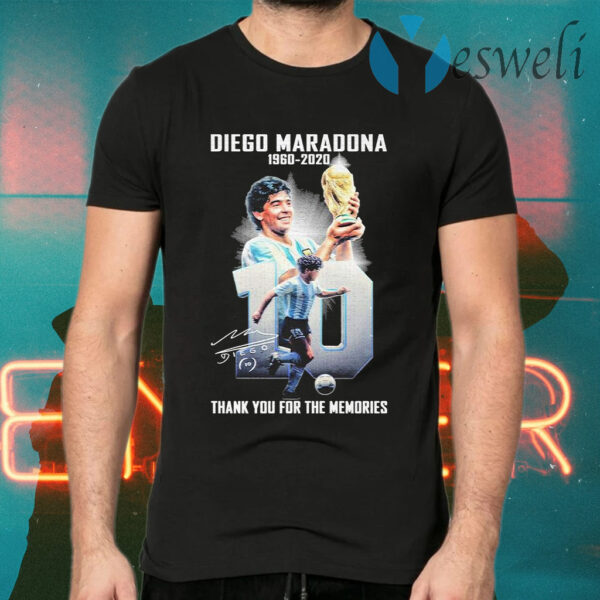 Diego Maradona 1960 2020 thank you for the memories signature T-Shirts