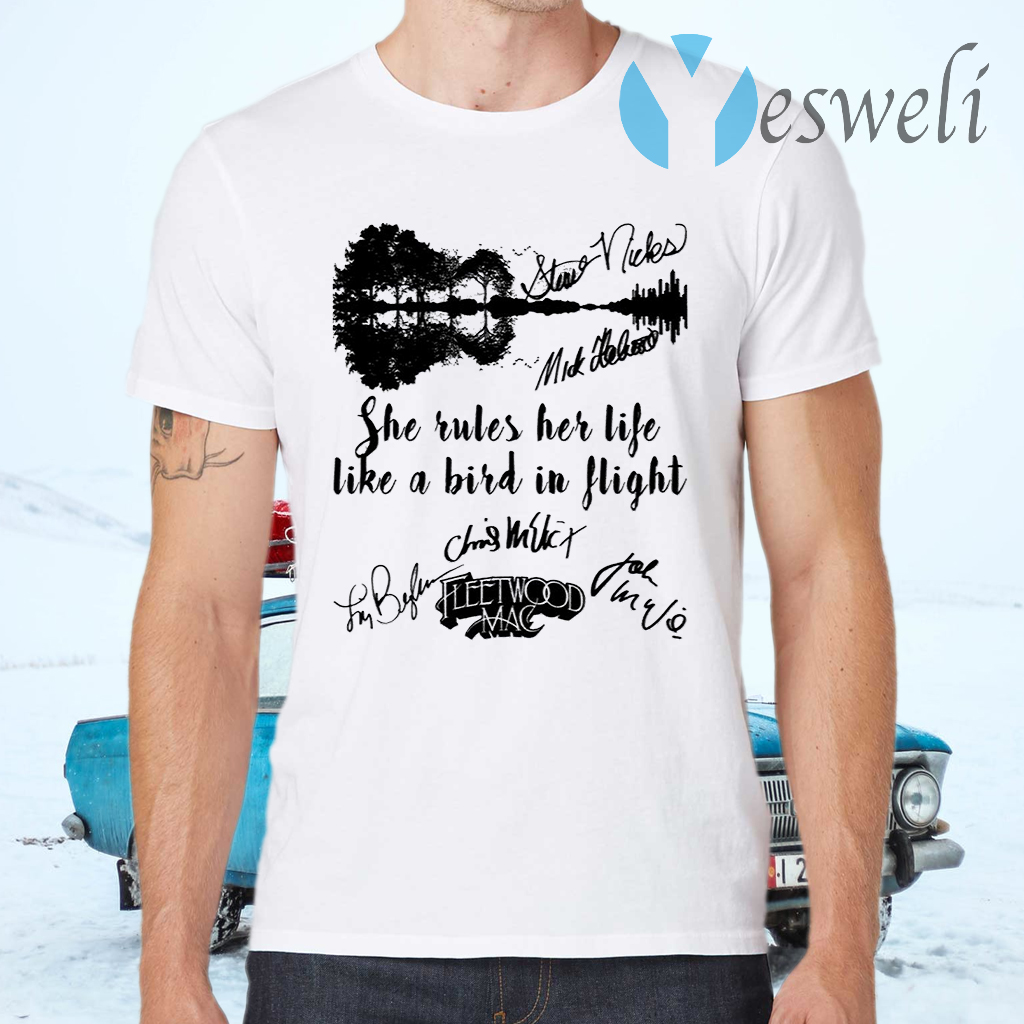 Fleetwood Mac She Rules Her Life Like A Bird In Flight Signatures T-Shirts