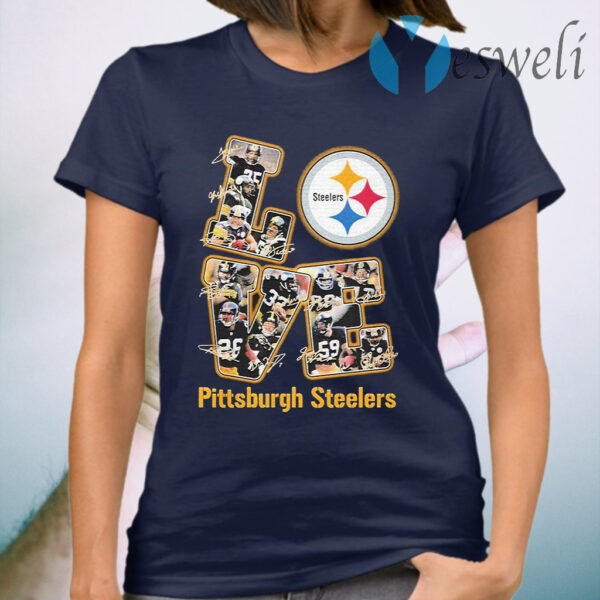 Love Pittsburgh Steelers signatures T-Shirt