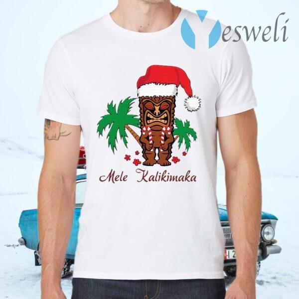 Mele Kalikimaka Merry Christmas Hawaiian Tiki T-Shirts
