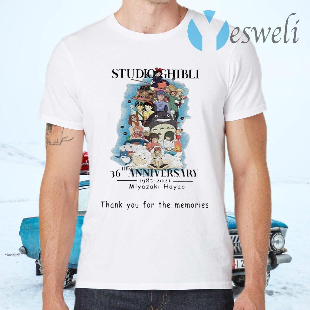 Studio Ghibli 36th anniversary 1985 2021 Miyazaki Hayao thank you for the memories signature T-Shirts