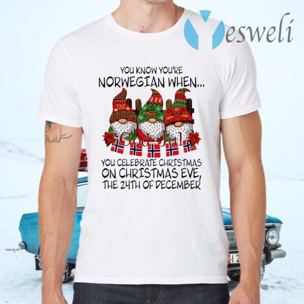 You Know You're Norwegian When God Jul You Celebrate Christmas T-Shirts