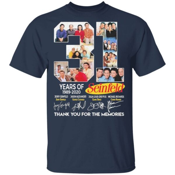 31 years of 1989 2020 Seinfeld thank you for the memories signatures T-Shirt