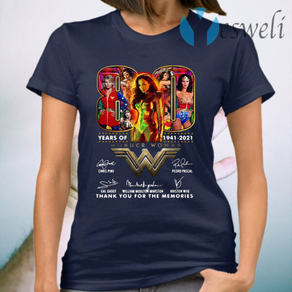 80 years of Wonder Woman 1941 2021 signatures thank you for the memories T-Shirt