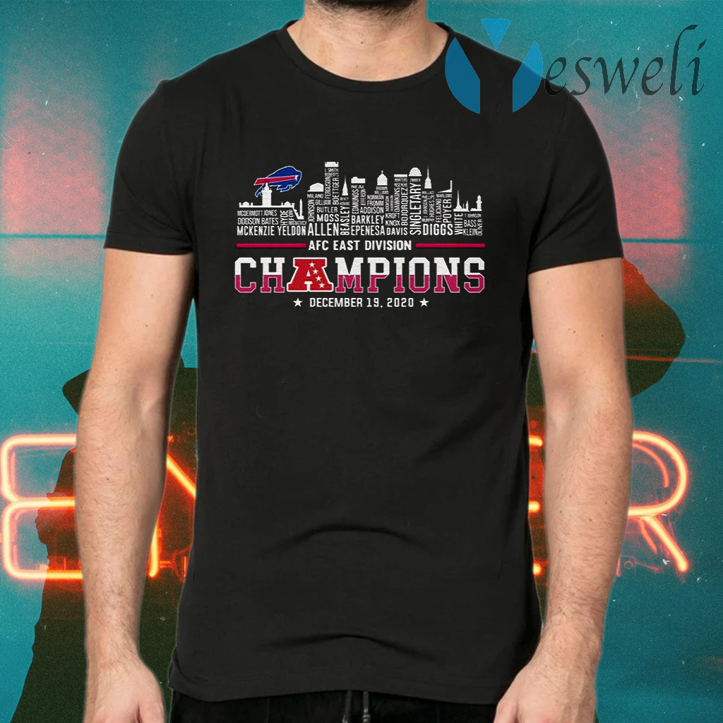 Awesome Buffalo Bills AFC East Division Champions 2020 Name Players T-Shirts