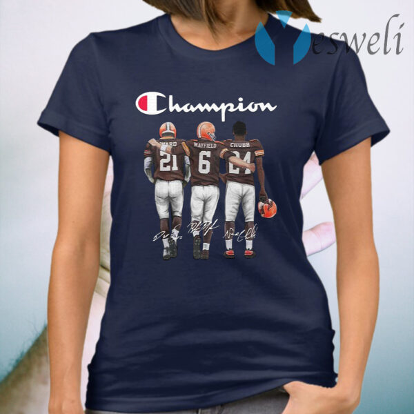 Cleveland browns champion ward and mayfield and chubb signature T-Shirt