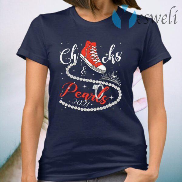 Diamond Ring And Crown Converse Chucks And Pearls With Kamala Harris 2021 T-Shirt