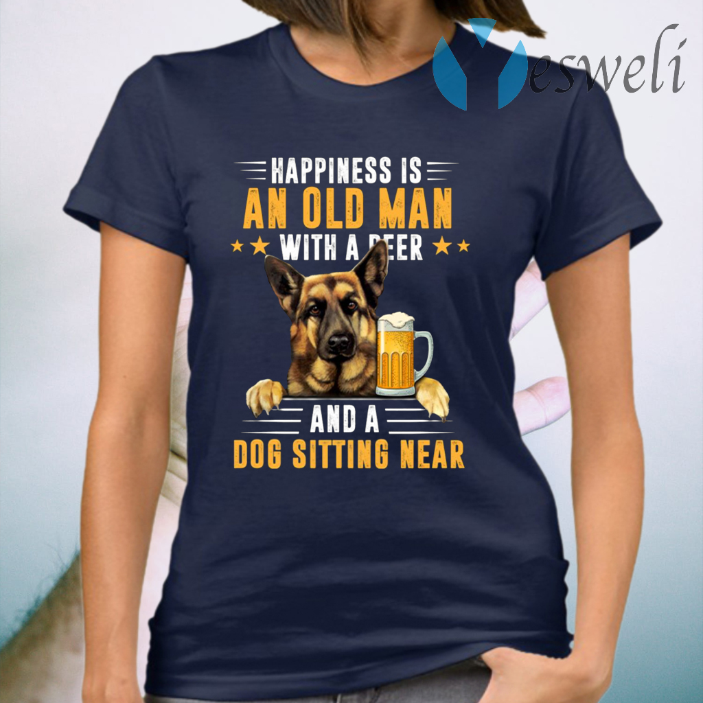 Happiness Is An Old Man With A Beer And A Dog T-Shirt