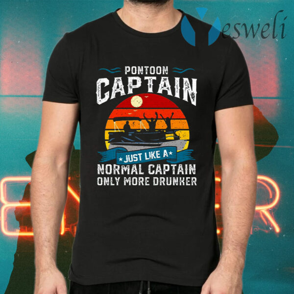 Pontoon Captain Boat Lake Boating Beer Gift For Dad T-Shirts
