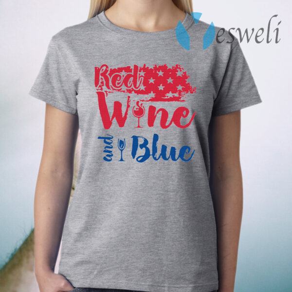 Red wine and blue T-Shirt