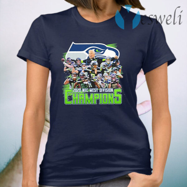 Seattle Seahawks 2020 NFC west division Champions signatures T-Shirt