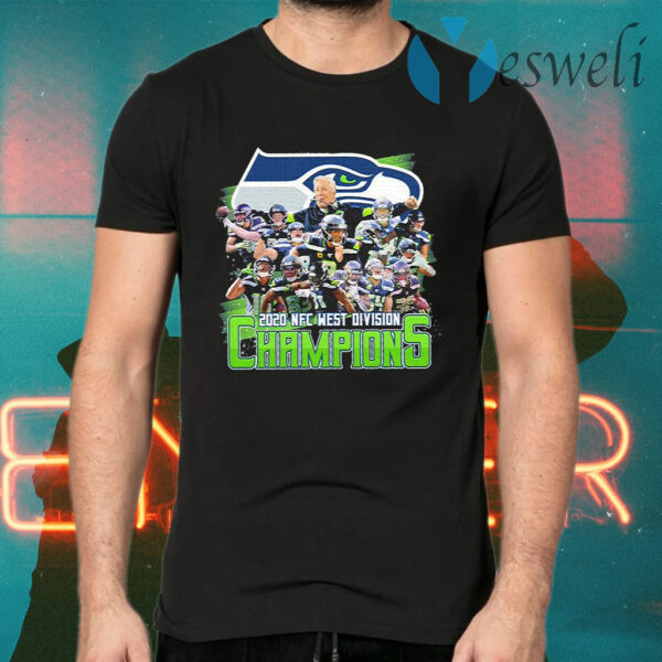 Seattle Seahawks 2020 NFC west division Champions signatures T-Shirts