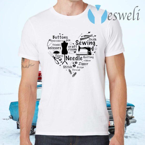 Sewing Craft Room Needle Stitch Zipper Heart T-Shirts