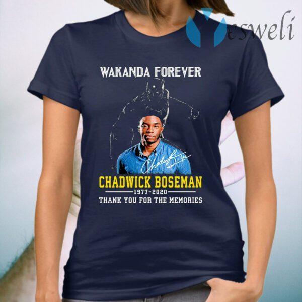 Wakanda Forever Chadwick Boseman 1977 2020 Signature Thank You For The Memories T-Shirt