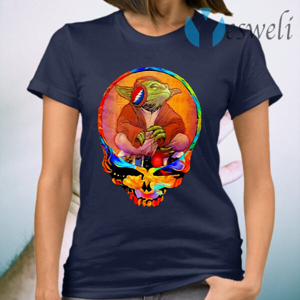 Yoda Listening Music Grateful Skull T-Shirt