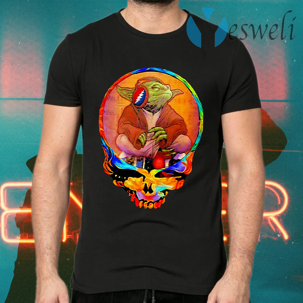 Yoda Listening Music Grateful Skull T-Shirts