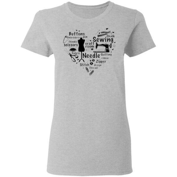 Sewing Craft Room Needle Stitch Zipper Heart T-Shirt