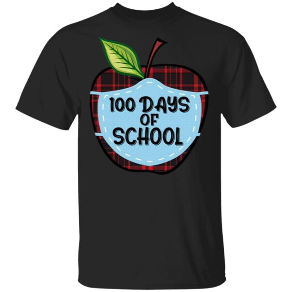 100 Days of School Apple Masked Youth T-Shirt