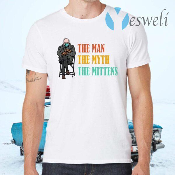Bernie The Man The Myth The Mittens Sanders Funny Bernie Meme Vintage T-Shirt