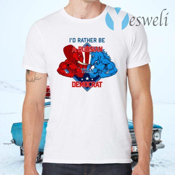 KeyVic I'd Rather Be A Russian Than Democrat T-Shirt