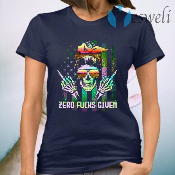 Lady Skull Zero Fucks Given American Sunflower T-Shirt