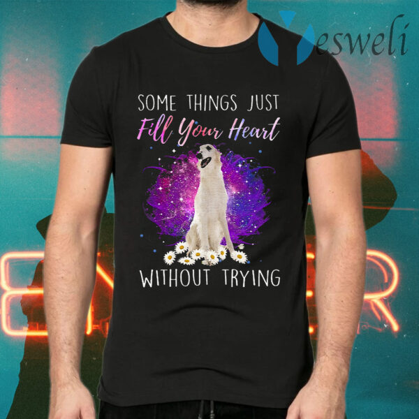 Some Things Just Fill Your Heart Without Trying White Borzoi T-Shirt