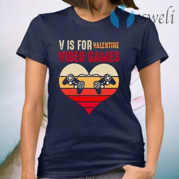 Vintage V Is for Video Games Gaming Valentines T-Shirt