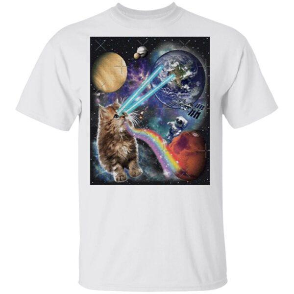 Cat Astronaut Laser Cat In Space T-Shirt