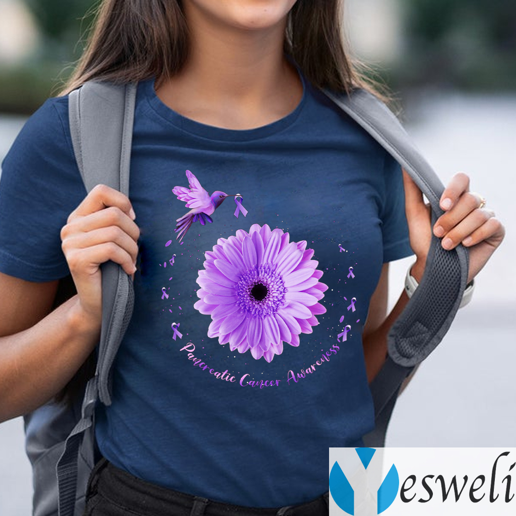 Hummingbird Purple Sunflower Pancreatic Cancer Awareness Shirt
