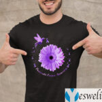 Hummingbird Purple Sunflower Pancreatic Cancer Awareness Shirts