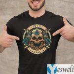 Until Valhalla Warrior Blood Skull Print On Back T-shirt