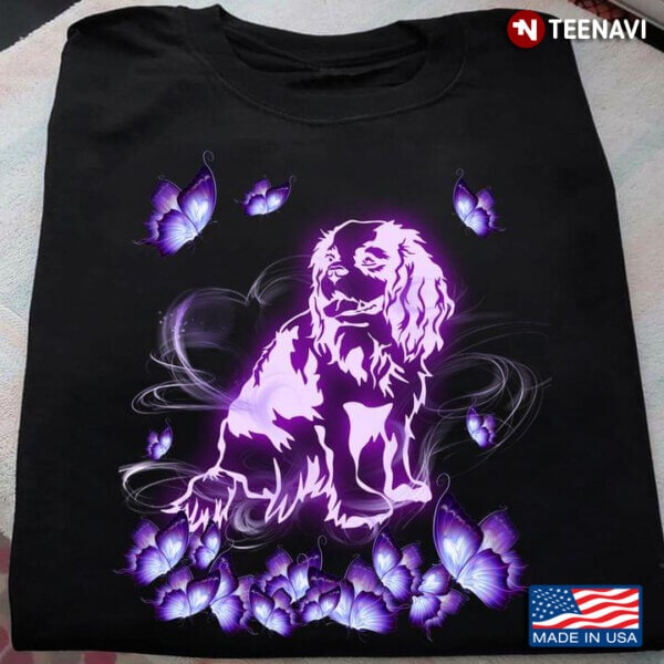 Cocker Spaniel With Butterflies In Heaven For Dog Lover