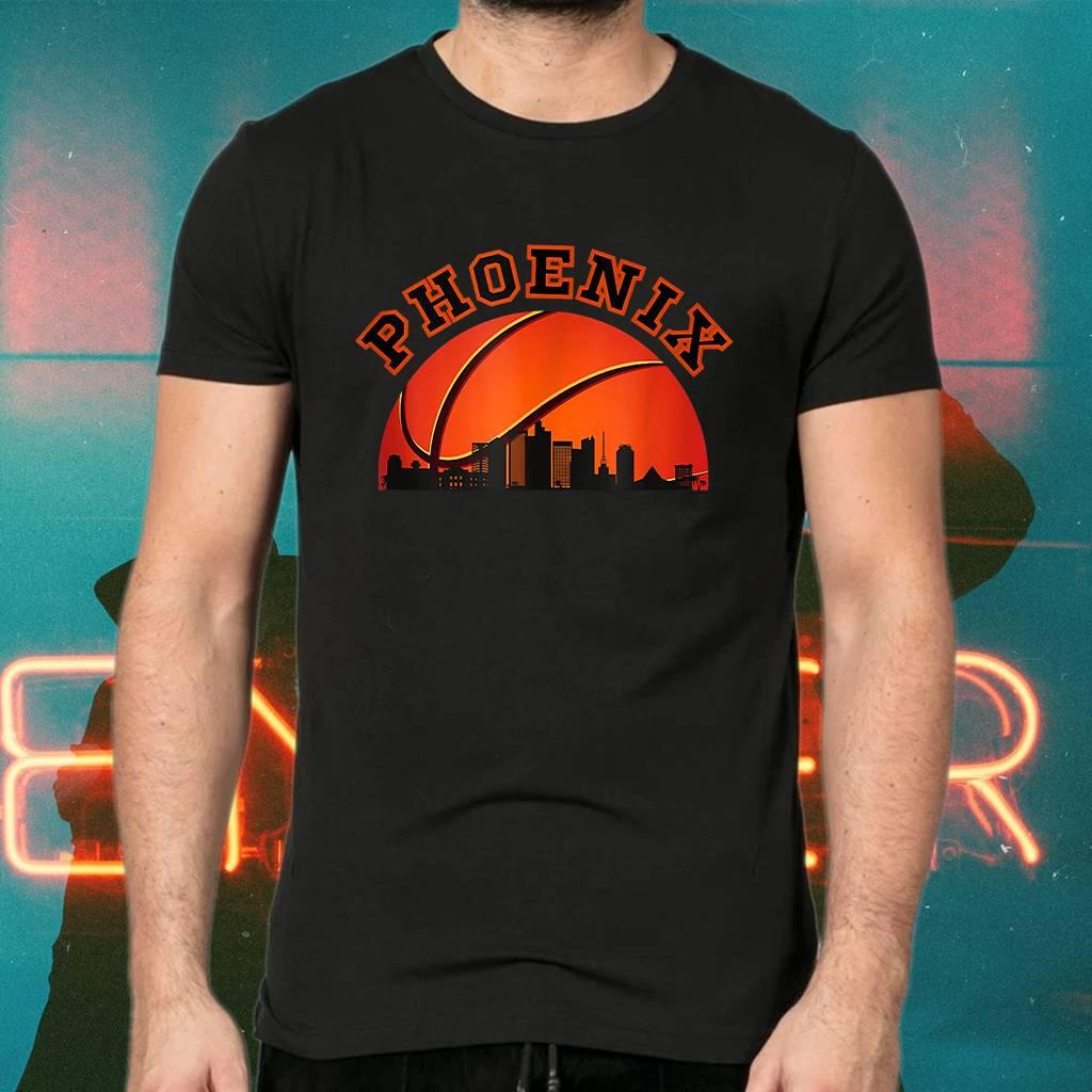 Phoenix AZ Cityscape Retro Sun - Basketball Fans Tee-Shirt