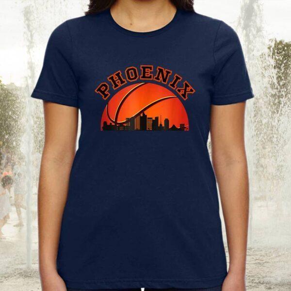 Phoenix AZ Cityscape Retro Sun - Basketball Fans Tee-Shirts