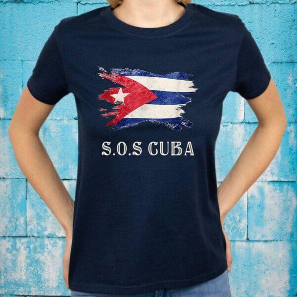 Sos Cuba Flag Cuba Cuban Flag Shirt